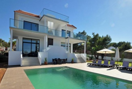 Newly built modern villa for sale san Jose Ibiza with sunset sea views 1