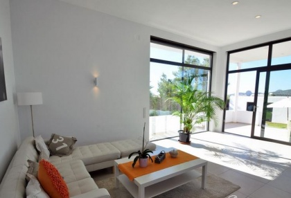 Newly built modern villa for sale san Jose Ibiza with sunset sea views 11
