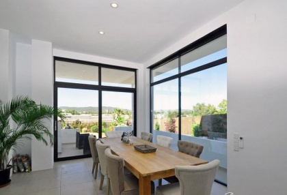 Newly built modern villa for sale san Jose Ibiza with sunset sea views 13