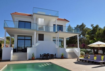 Newly built modern villa for sale san Jose Ibiza with sunset sea views 3