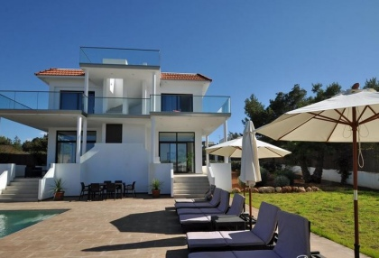 Newly built modern villa for sale san Jose Ibiza with sunset sea views 4