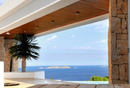 Modern villa with sea and sunset views close to Cala Carbo, Ibiza_