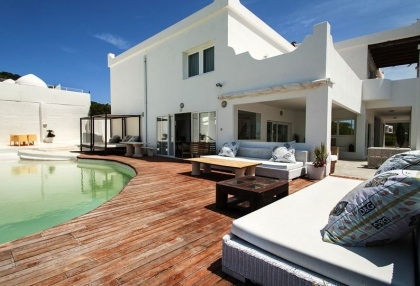 8 bedroom luxury oceanfront villa for sale with sea sunset views to Es Vedra Ibiza San Jose Coast 3