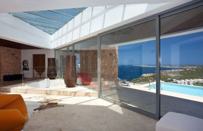 Luxury villa on mountainside setting overlooking the sea in Ibiza
