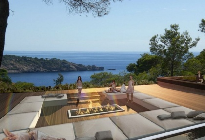 Sea view plot for sale Vista Alegre Es Cubells Ibiza with licence to build luxury 8 bedroom villa 2