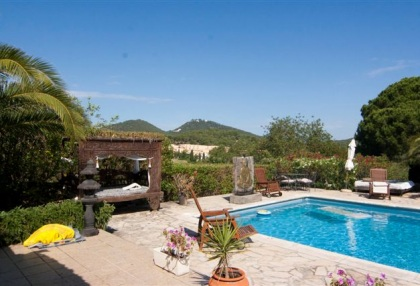 Large pool with 6 bedroom Roca Llisa golf luxury house for sale in Ibiza 1