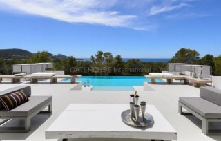 Large contemporary 7 bedroom Ibiza house with sunset and coastline views