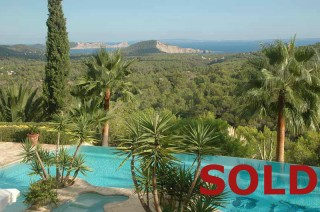 Luxury villa for sale on a hill with views over San Jose and Es Cubells, Mallorca