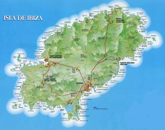Ibiza map with beach names